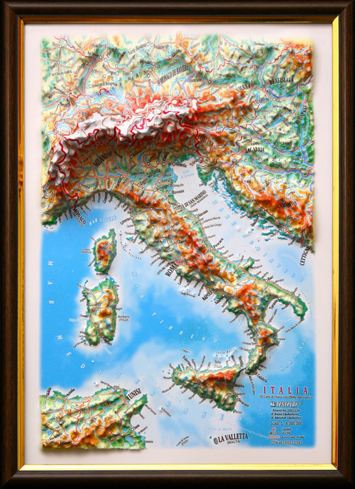 Raised Relief Map of Italy