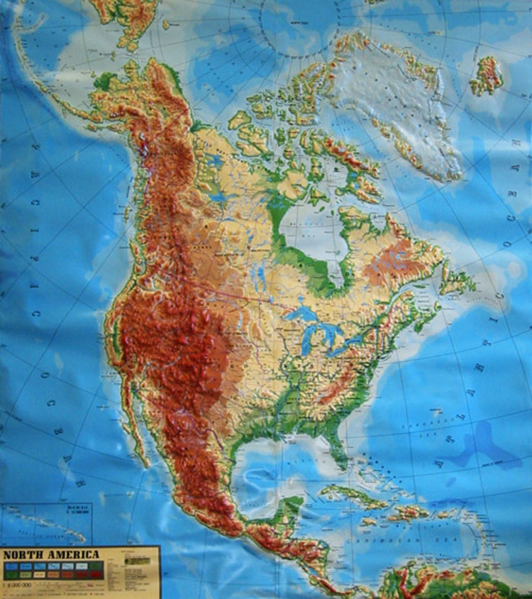 North America Large Extreme Raised Relief Map