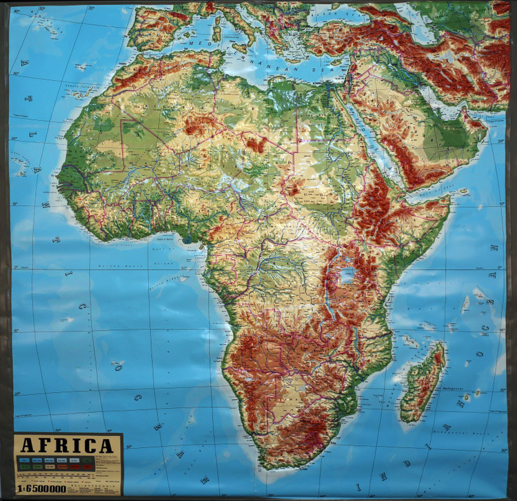 Africa Large Extreme Raised Relief Map