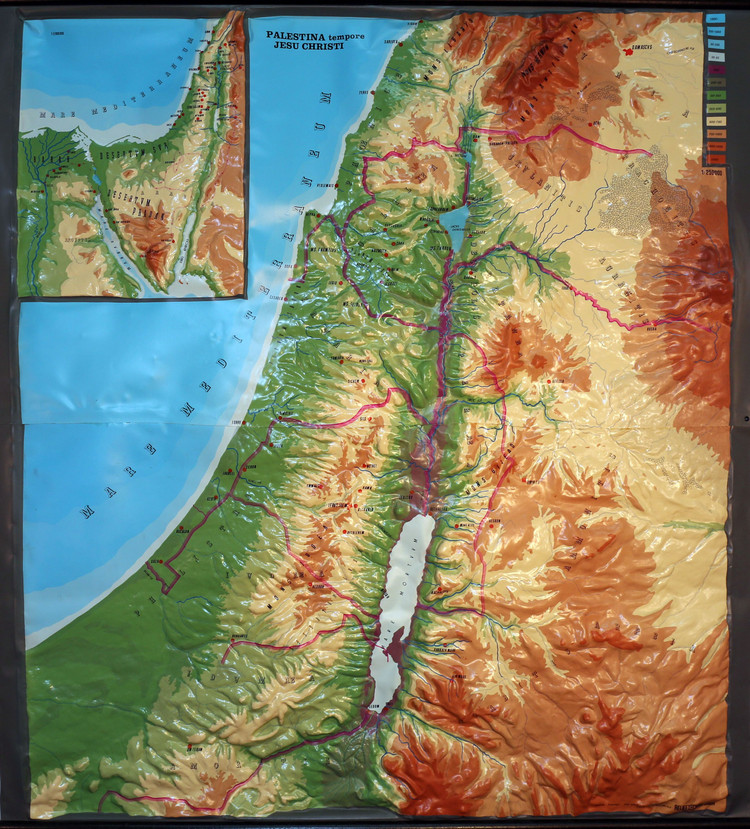 Palestine (Holy Land) Large Extreme Relief Map - Latin Text