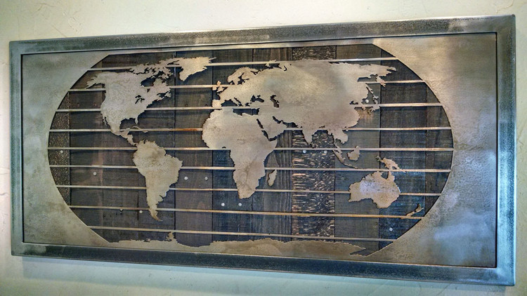 "Metal World Map Art Sculpture - 3 Sizes Up to 92"" x 44"""