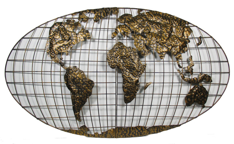 Oval World Map Wall Sculpture