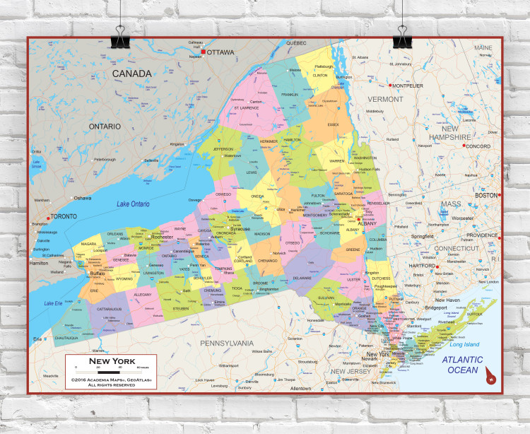New York State Political Wall Map