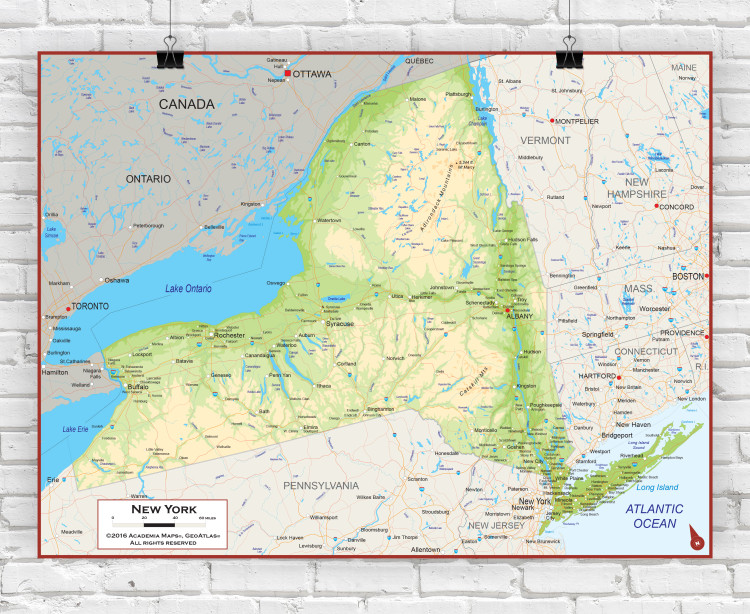 New York State Physical Wall Map