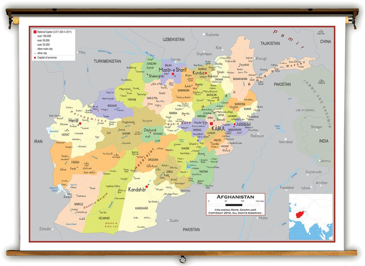 Afghanistan Political Educational Map from Academia Maps