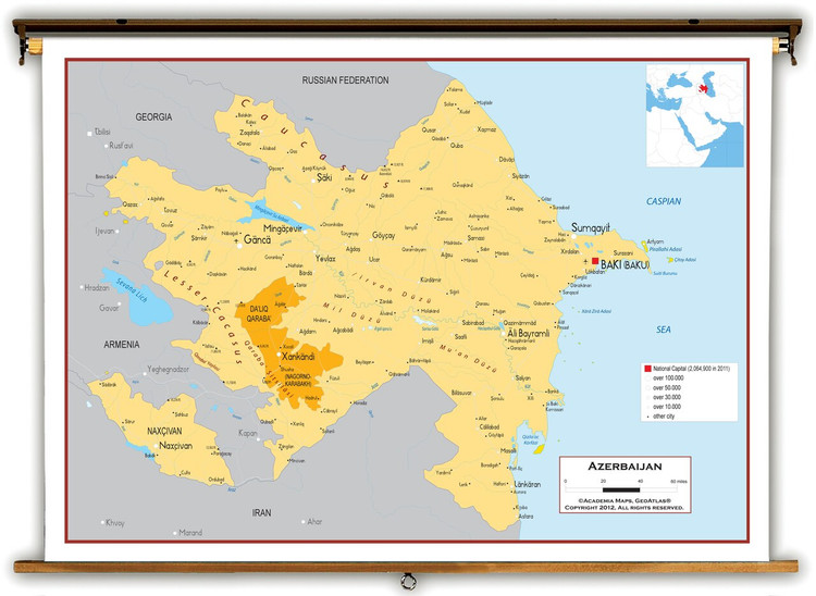 Azerbaijan Political Educational Map from Academia Maps