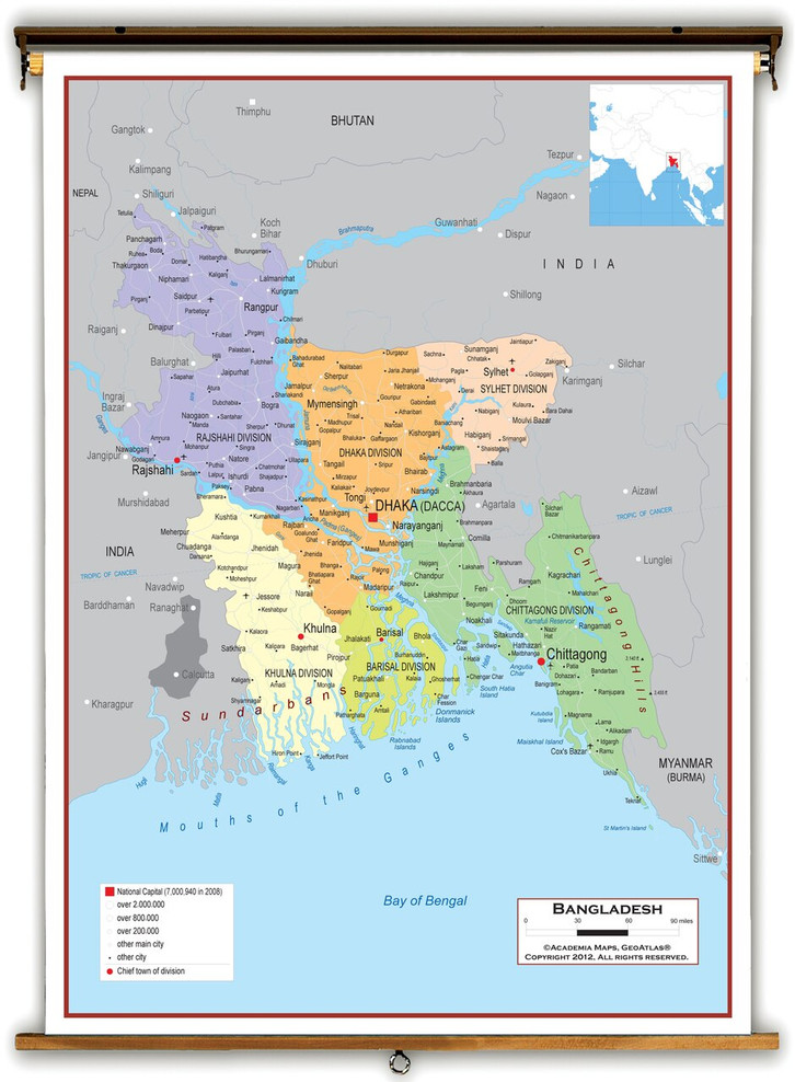 Bangladesh Political Educational Map from Academia Maps