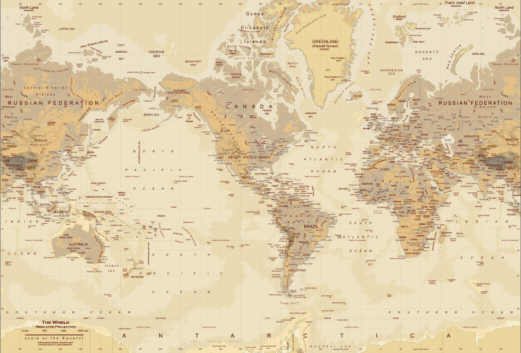 "Tan World Map Wall Mural - up to 166"" x 112"""