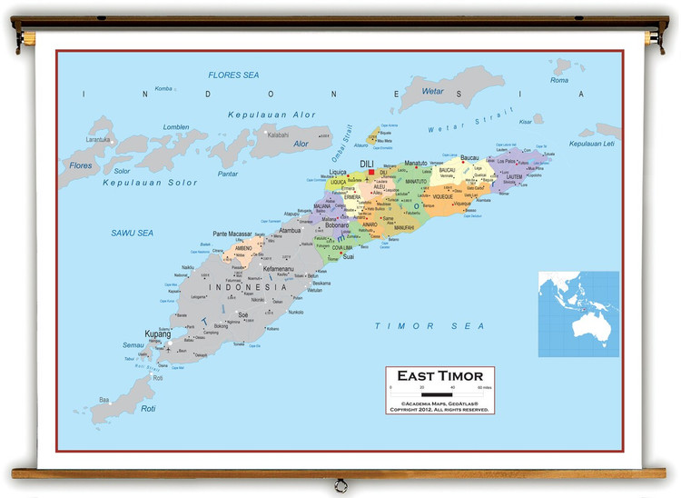 East Timor Political Educational Map from Academia Maps
