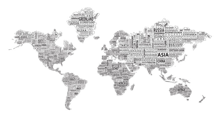 1-World Text Map Mural - Black on White