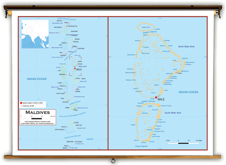 Maldives Political Educational Map from Academia Maps