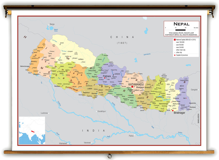 Nepal Political Educational Map from Academia Maps