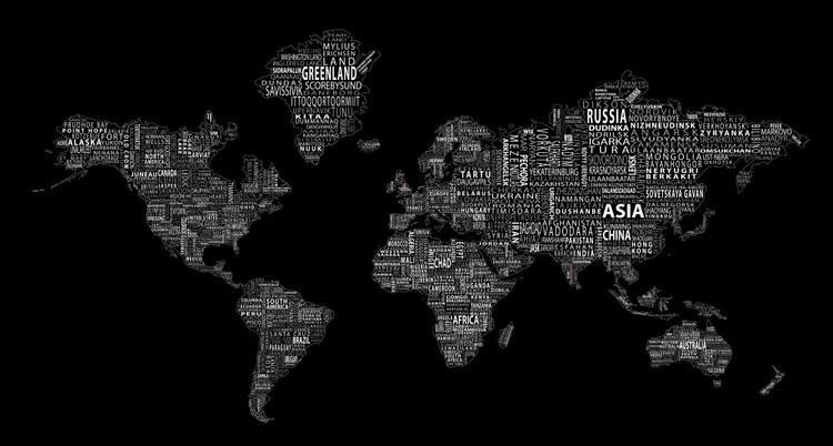 1-World Text Map Mural - White on Black