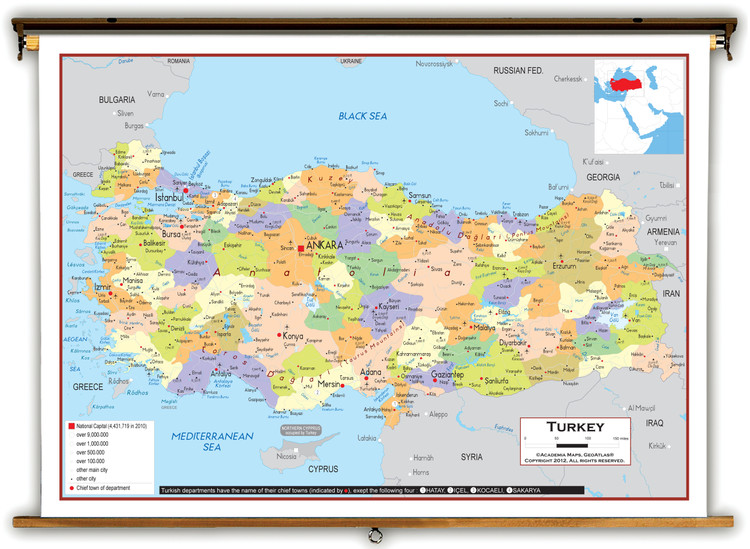Turkey Political Educational Map from Academia Maps