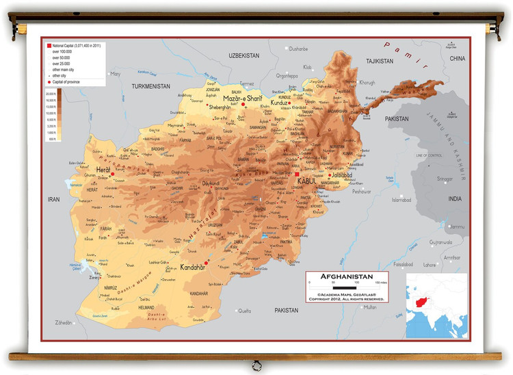 Afghanistan Physical Educational Map from Academia Maps