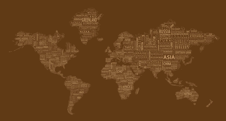 1-World Text Map Mural - Brown Mono