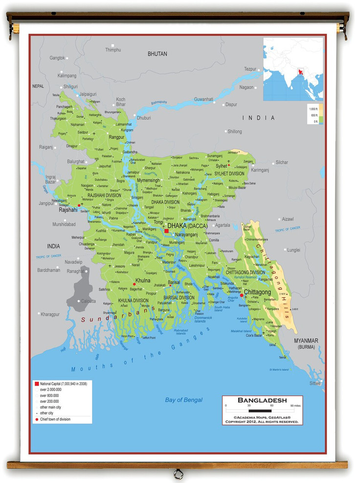 Bangladesh Physical Educational Map from Academia Maps