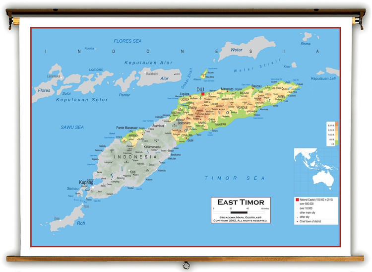 East Timor Physical Educational Map from Academia Maps