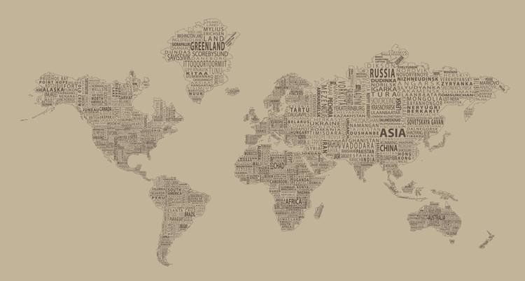 1-World Text Map Mural - Tan Mono