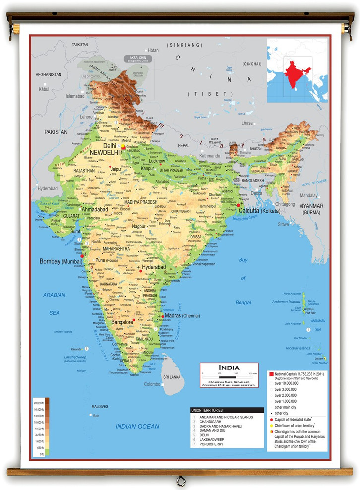 India Physical Educational Map from Academia Maps