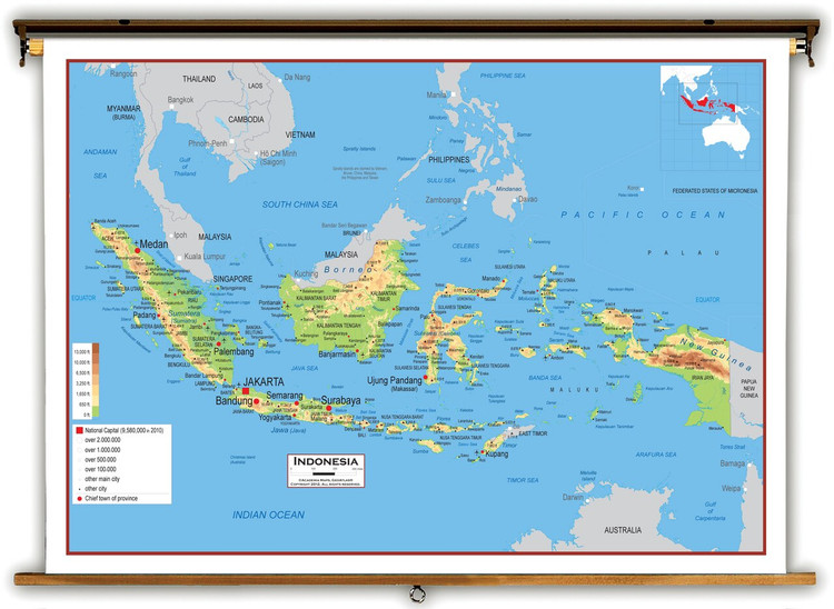 Indonesia Physical Educational Map from Academia Maps