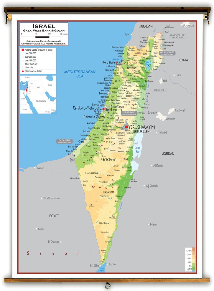 Israel Physical Educational Map from Academia Maps