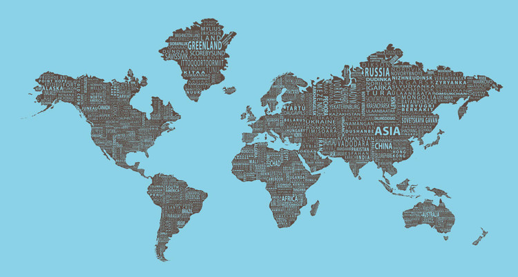 1-World Text Map Mural - Brown on Blue