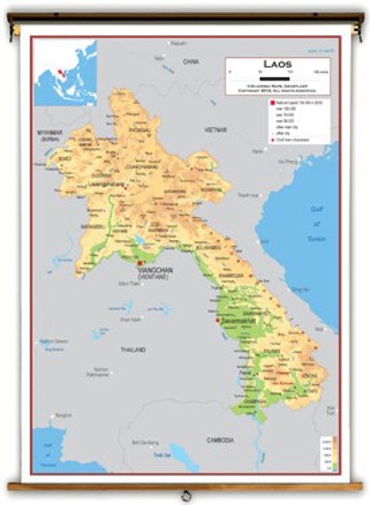 Laos Physical Educational Map from Academia Maps