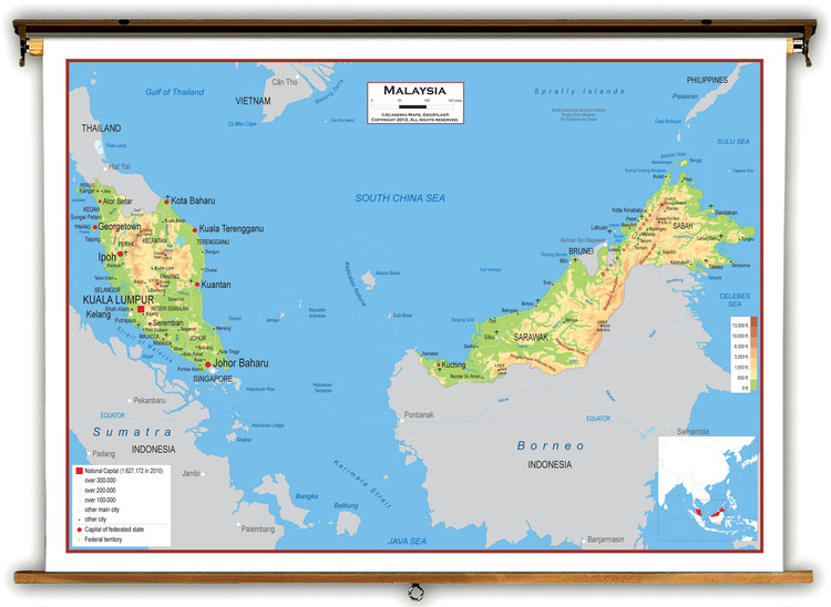 Malaysia Physical Educational Map from Academia Maps