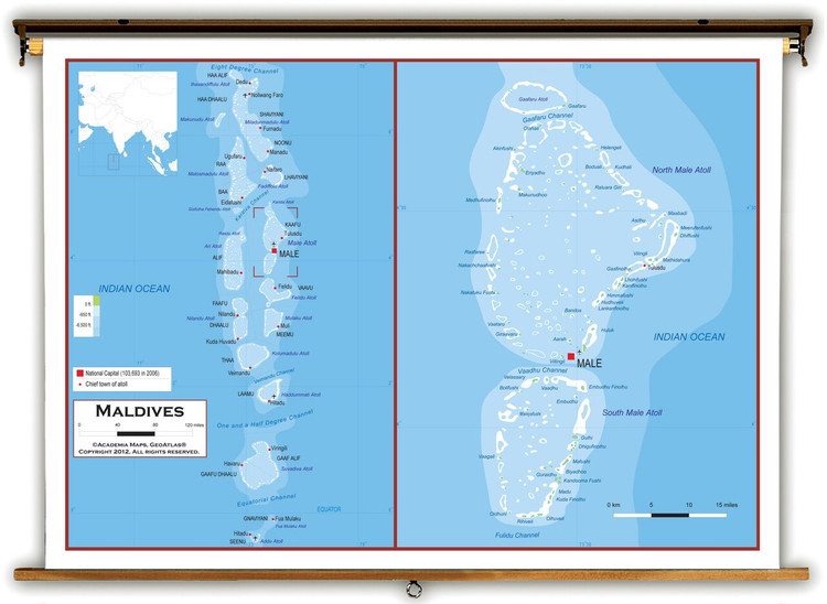 Maldives Physical Educational Map from Academia Maps