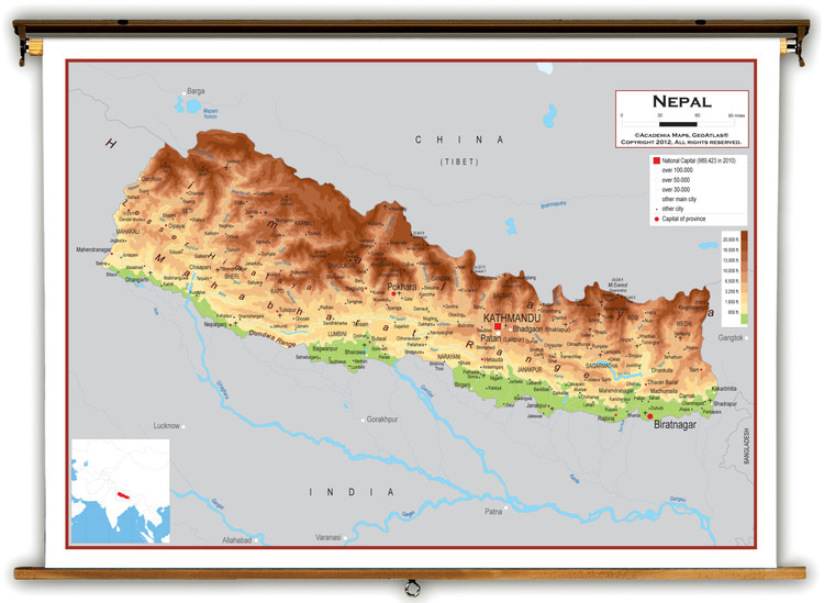 Nepal Physical Educational Map from Academia Maps