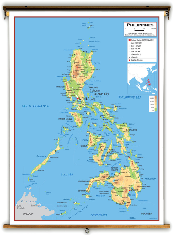 Philippines Physical Educational Map from Academia Maps