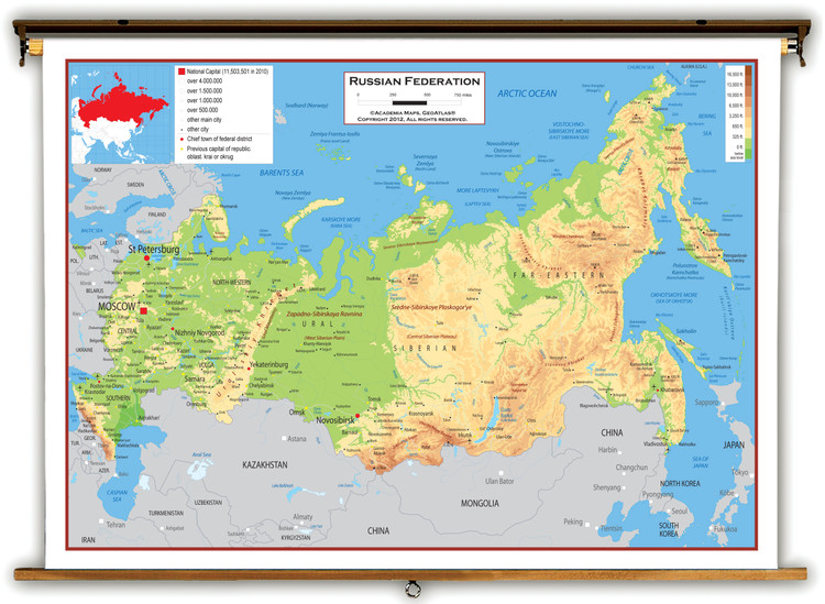 Russia Physical Educational Map from Academia Maps
