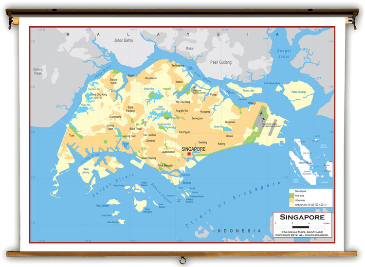Singapore Physical Educational Map from Academia Maps