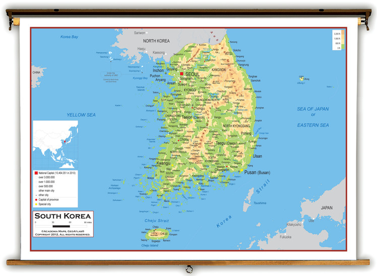South Korea Physical Educational Map from Academia Maps