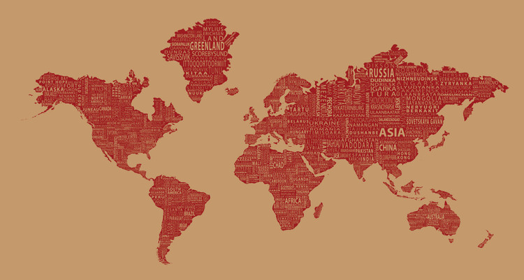 1-World Text Map Mural - Red Wine