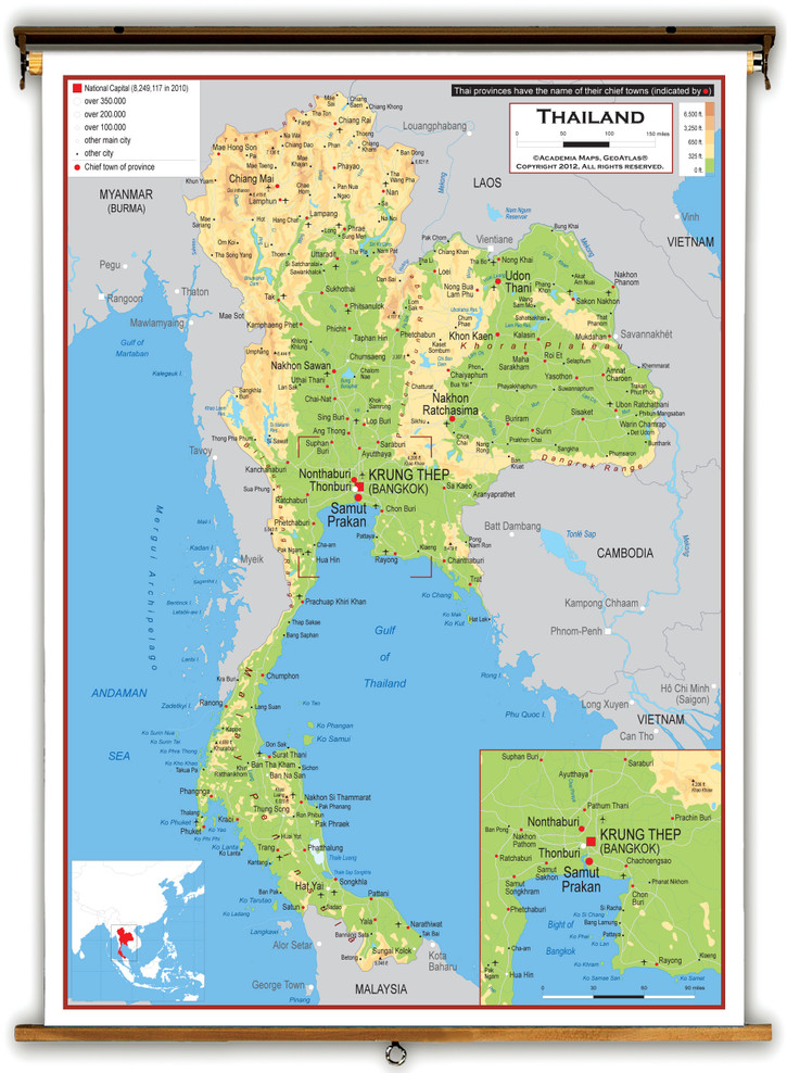 Thailand Physical Educational Map from Academia Maps
