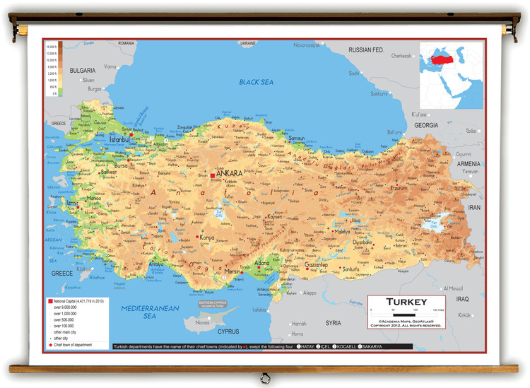 Turkey Physical Educational Map from Academia Maps