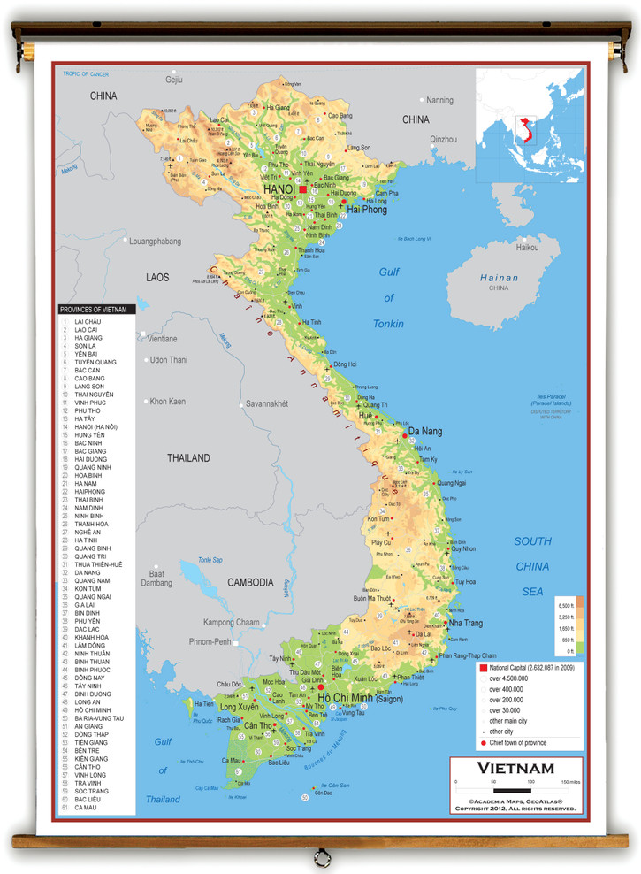 Vietnam Physical Educational Map from Academia Maps
