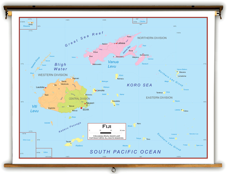 Fiji Political Educational Map from Academia Maps