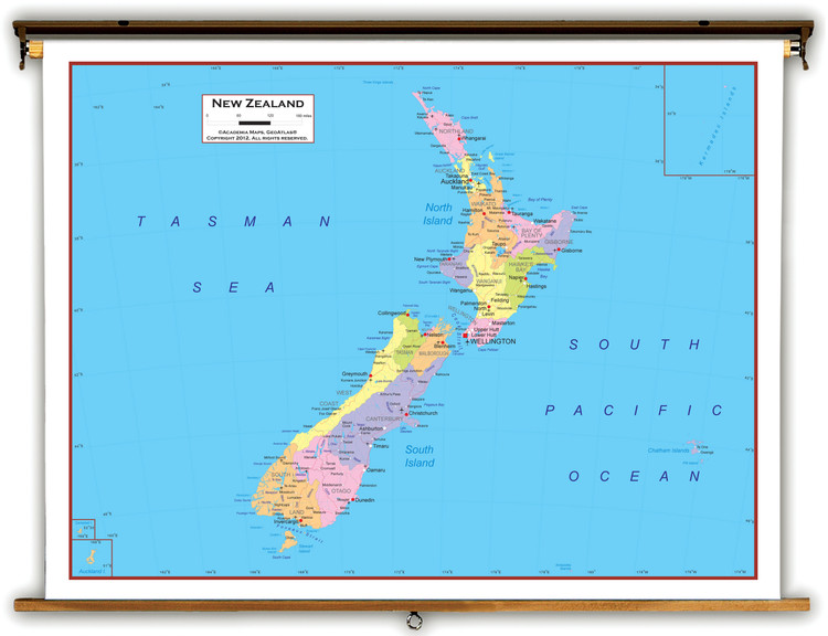 New Zealand Political Educational Map from Academia Maps