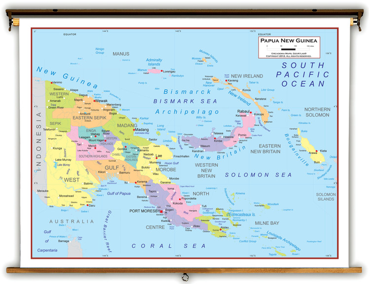 Papua New Guinea Political Educational Map from Academia Maps