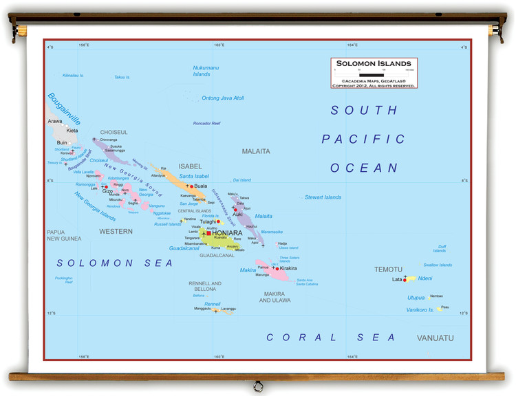 Solomon Islands Political Educational Map from Academia Maps