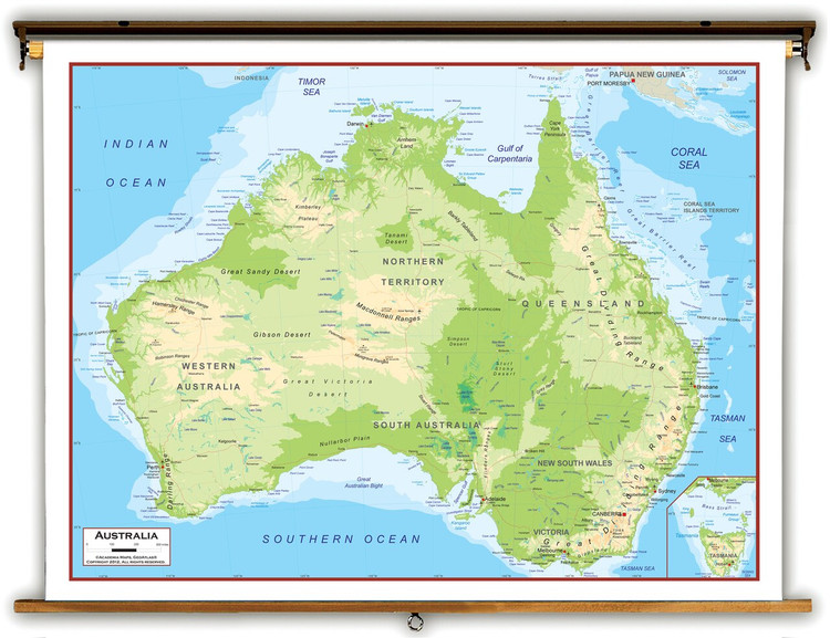 Australia Physical Educational Map from Academia Maps