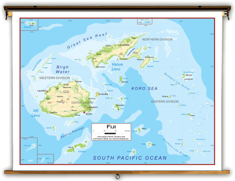 Fiji Physical Educational Map from Academia Maps