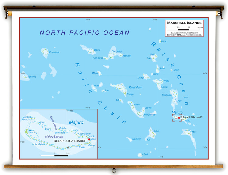 Marshall Islands Physical Educational Map from Academia Maps