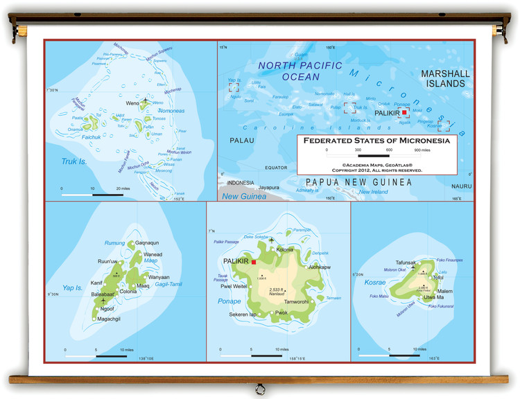 Micronesia Physical Educational Map from Academia Maps