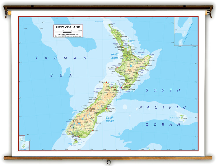 New Zealand Physical Educational Map from Academia Maps