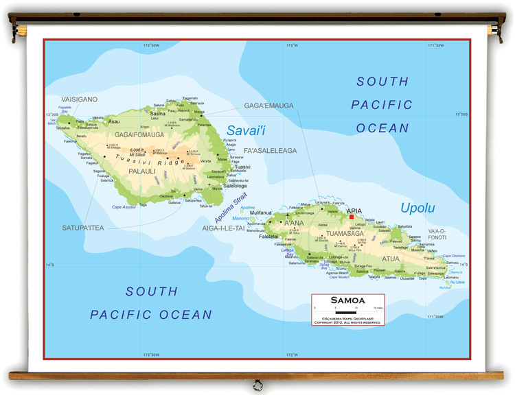 Samoa Physical Educational Map from Academia Maps