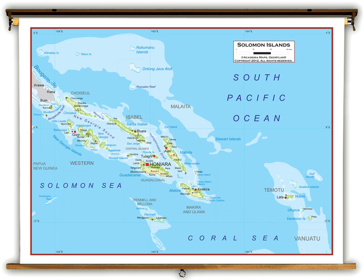 Solomon Islands Physical Educational Map from Academia Maps
